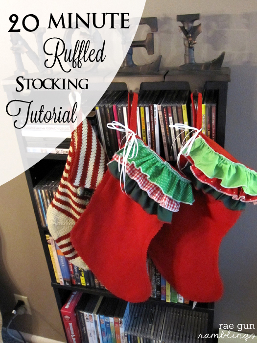 20 Minute Ruffled Stocking Tutorial - Rae Gun Ramblings #christmas #diy #craft #stocking