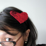 woman wearing heart headband