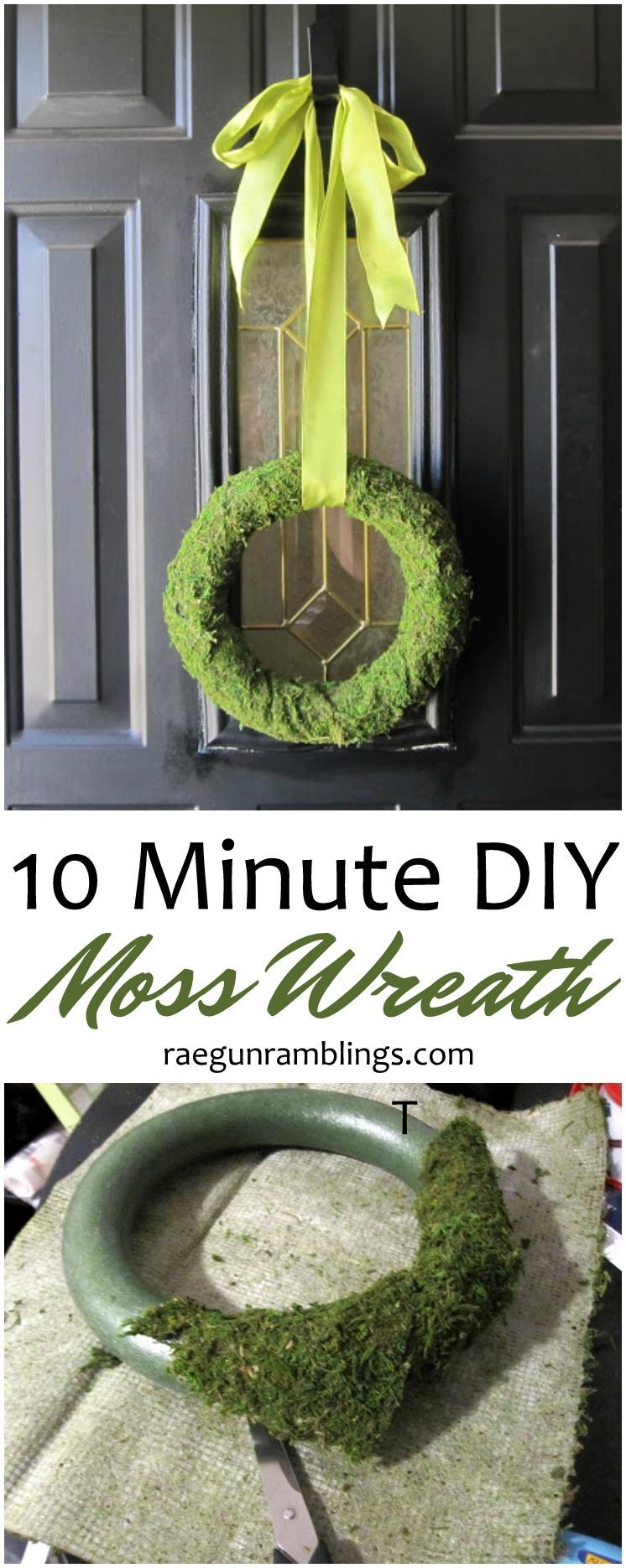 Made this last night. 10 minute DIY Moss Wreath tutorial. Easy festive Spring home decor craft tutorial
