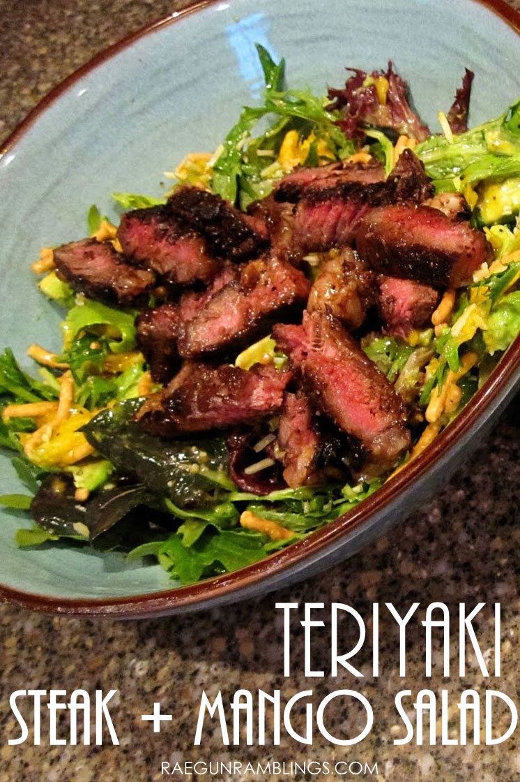 super yummy and healthy teriyaki steak and mango salad. love this for dinner