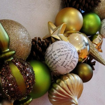 Green and Gold Ornament Wreath and Book Page Ornament Tutorial