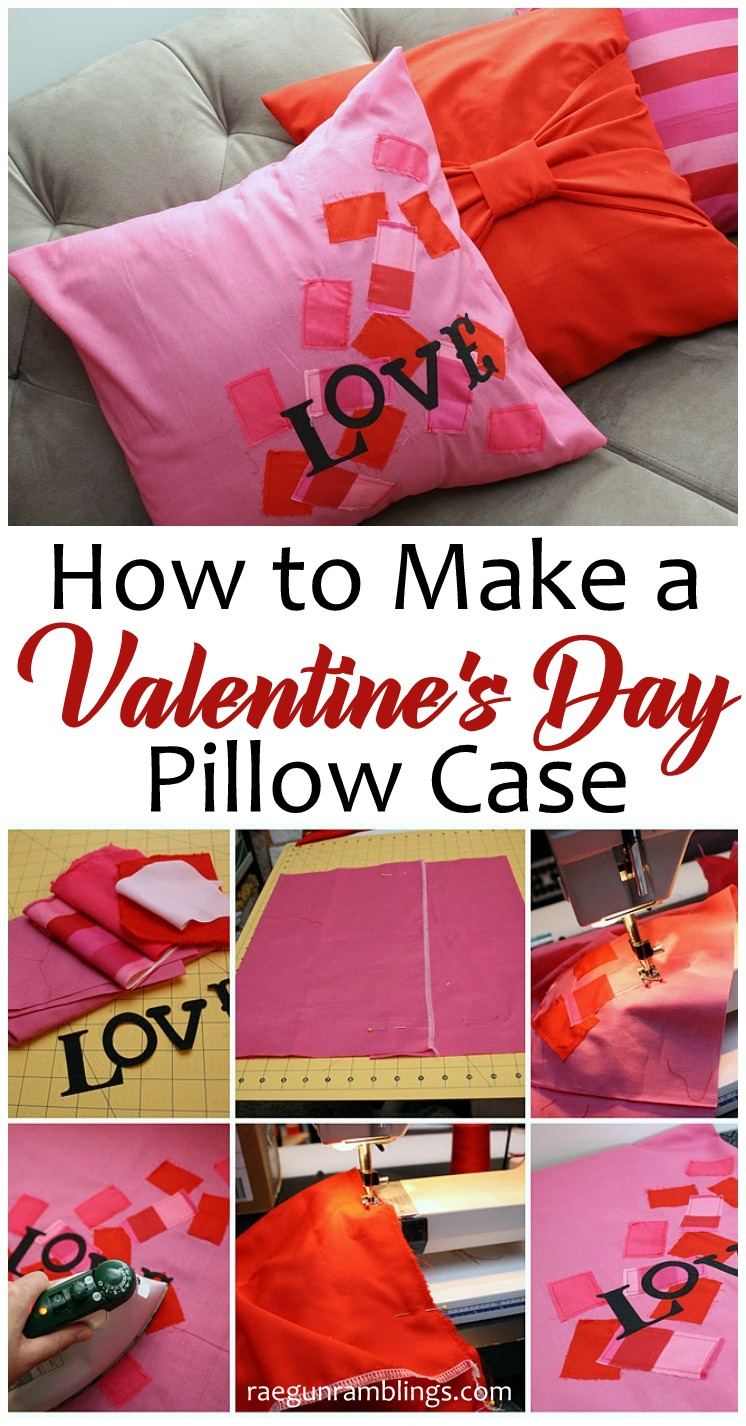 easy DIY Valentine\u0027s Day pillow case tutorial. Great fast home decor project