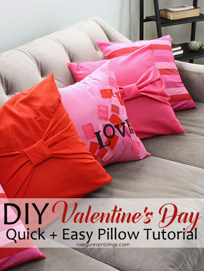 Love this! Super easy DIY Valentine's Day pillow case tutorial. Perfect easy home decor sewing project