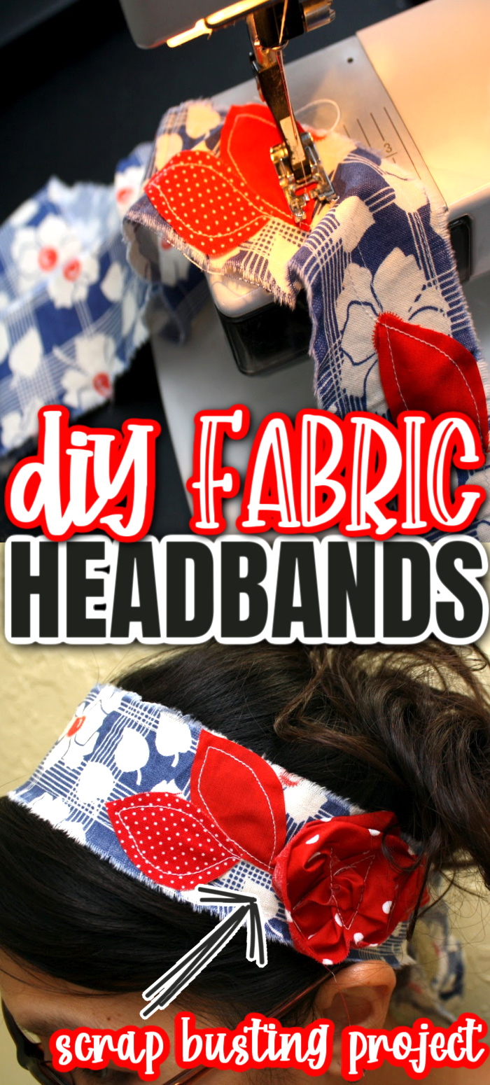How to make scrappy fabric headbands from scraps. Super quick and easy sewing project. via @raegun