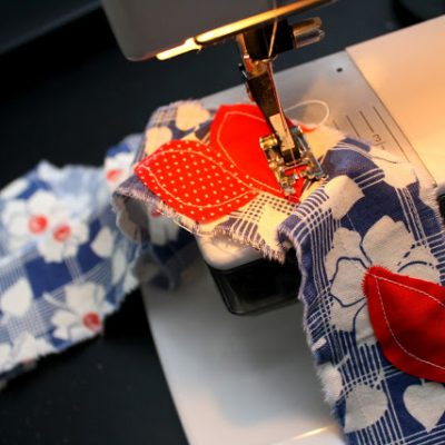fabric on sewing machine