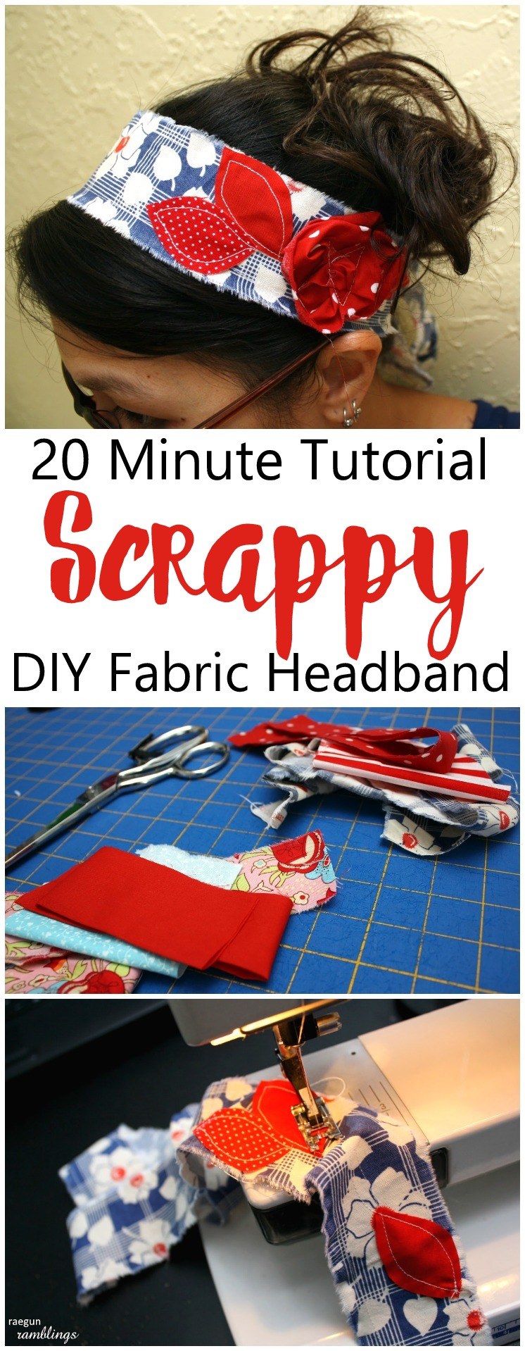 Just made one of these DIY headbands in 10 minutes and it turned out great! Perfect use of fabric scraps, easy sewing tutorial and pattern and love having my hair up in it!
