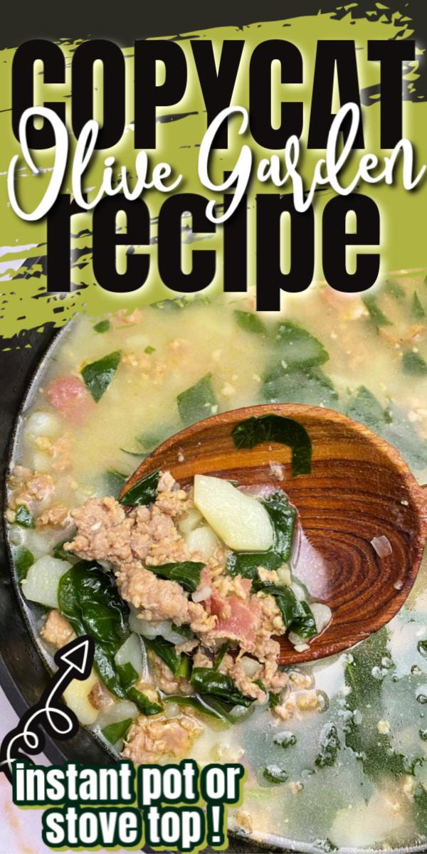Olive Garden Copycat Zuppa Toscana Soup Recipe for instant pot and stove via @raegun