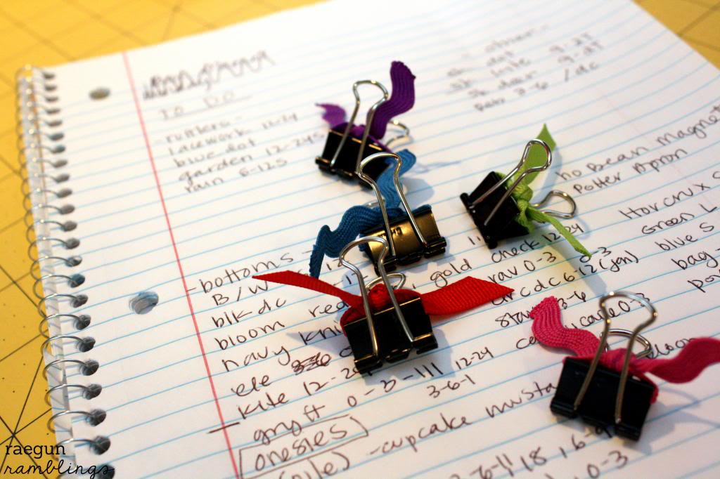 color coded binder clips