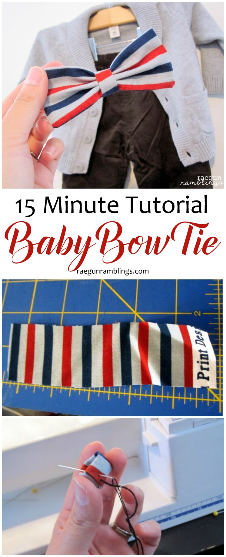 Easiest baby bow tie ever. Quick DIY cheater bow tie tutorial