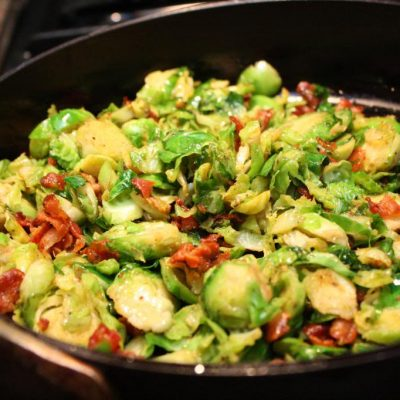 Recipe: Quick and Yummy Shaved Brussels Sprouts with Bacon