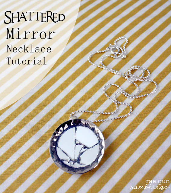 Make a beautiful necklace from mirror and bottle caps super easy and inexpensive. Tutorial at Rae GUn Ramblings