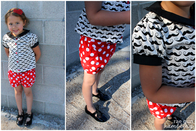 mustache shirt bubble shorts patterns - rae gun ramblings