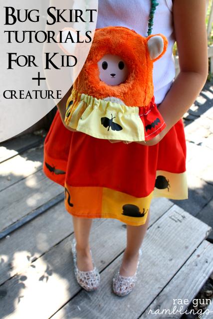 Easy bug skirt tutorial great for beginners. Sized for both kid and stuffed animal - Rae Gun Ramblings