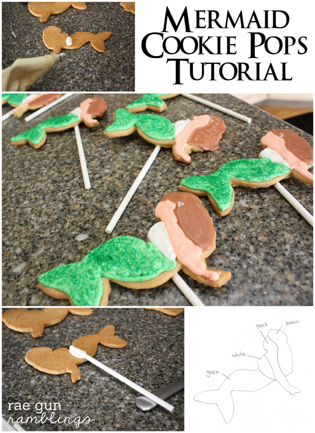 Step by step instructions on how to make darling Mermaid Cookie Pops #recipe #tutorial #mermaid - Rae Gun Ramblings