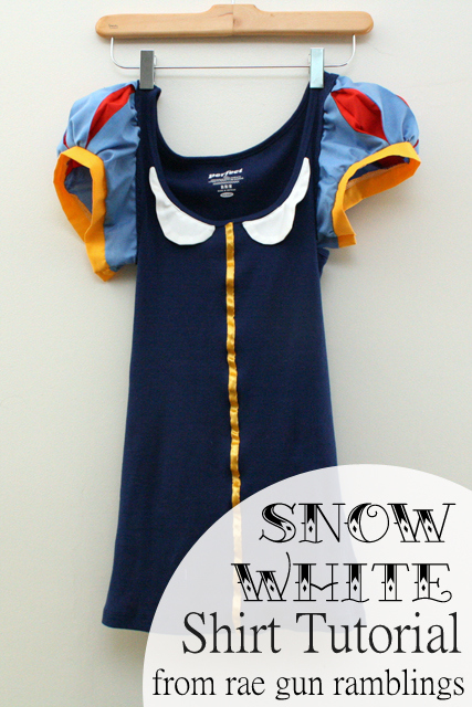 Grown ups can get in on the fun of dressing up at Disneyland too. A fun and comfy Snow White Shirt Tutorial from Rae Gun Ramblings