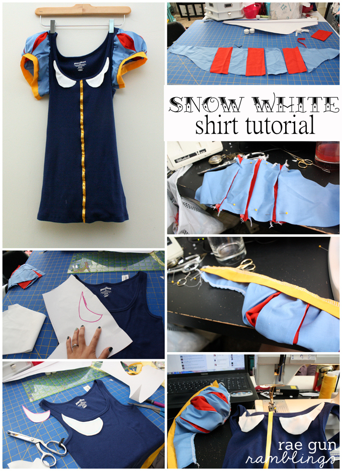 Step by step instructions for how to sew Snow White sleeves in all sizes and how to turn a regular tank top into an awesome Snow White shirt. via @raegun