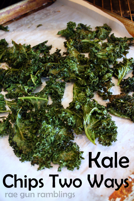 Two recipes for kale chips (one basic and one taco variation) and tips and tricks for storage and enjoying them - Rae Gun Ramblings