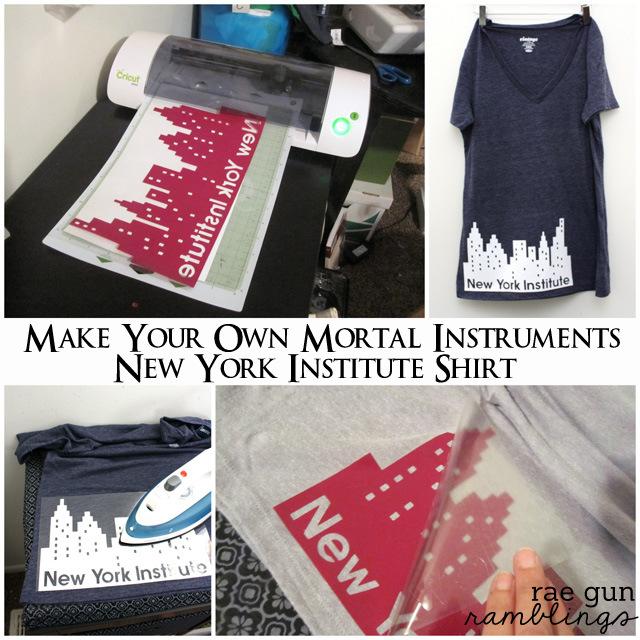 How to make a #mortalinstruments #cityofbones New York Institute shirt - Rae Gun Ramblings #yalit #craft #tutorial