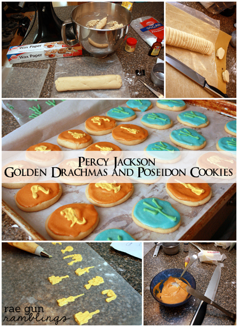 Step by step tutorial and recpes to make son of poseidon and golden dracma #percyjackson #cookies at Rae Gun Ramblings