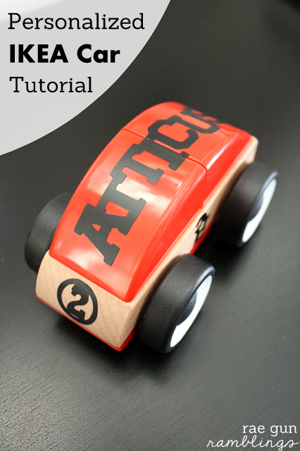 Super cute boy give idea. Personalize an inexpensive IKEA car Tutorial at Rae Gun Ramblings
