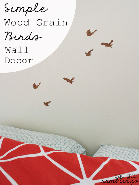 Simple temporary wood grain bird wall decor tutorial - Rae Gun Ramblings