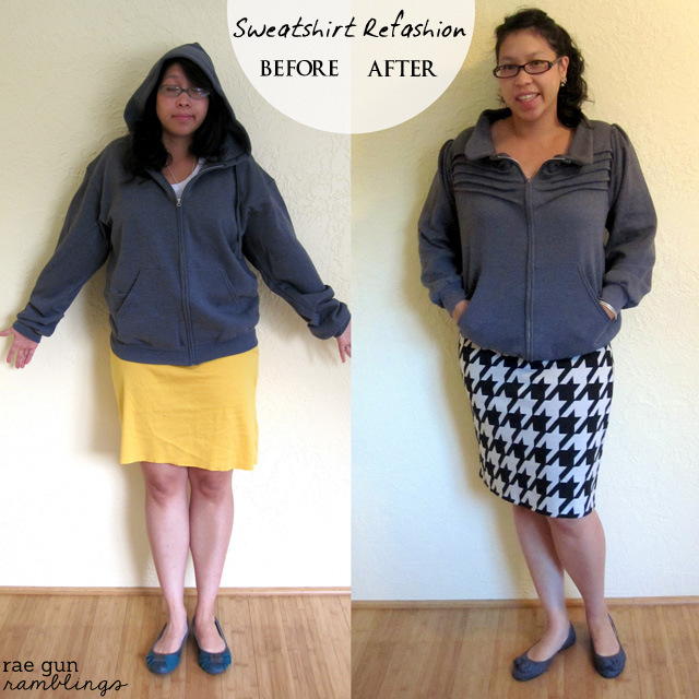 Turn an ordinary hoodie sweatshirt into a fun stylish jacket - Rae Gun Ramblings #upcycle #sewing