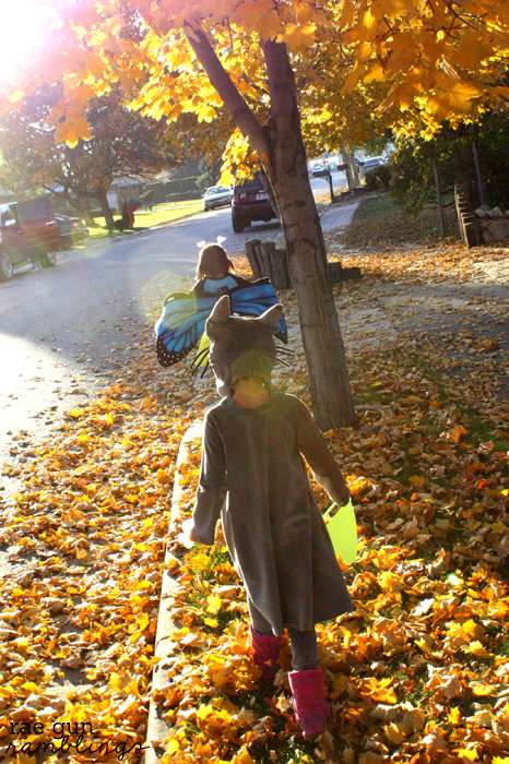 Handmade Halloween costumes Totoro and Butterfly - Rae Gun Ramblings