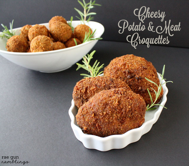 Japanese inspired meat and potato croquettes with cheese added for a twist - Rae Gun Ramblings #shop #KraftTake #potato #party #snack