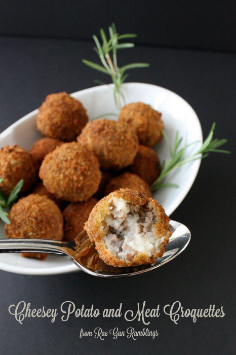 Yummy potato, cheese and meat balls. Fancy enough for Thanksgiving but tasty enough for an after school snack - Rae Gun Ramblings