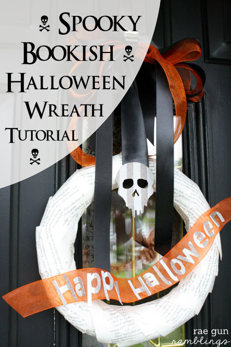 Cute bookpage Halloween Wreath - Rae Gun Ramblings #diy #halloween #craft #HalloweenMP