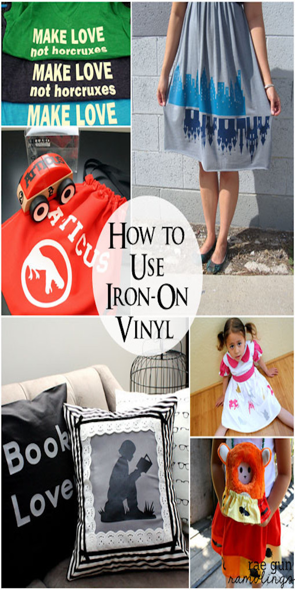 How to use iron-on vinyl awesome tips tricks and projects for using heat transfer vinyl great for working with Cricut machines via @raegun