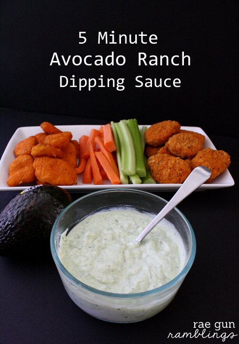 Recipe for 5 minute avocado rance dip at Rae Gun Ramblings #LoveUrNuggets #cbias #ad