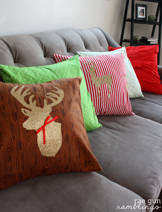 Two easy Christmas pillow case tutorials at Rae Gun Ramblings #cricut #christmas #deer