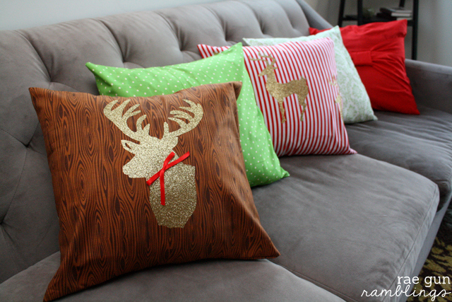 Simple Christmas reindeer pillow case tutorials at Rae Gun Ramblings