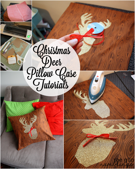 Deer head Christmas pillow case tutorial at Rae Gun Ramblings #craft #cricut #sewing