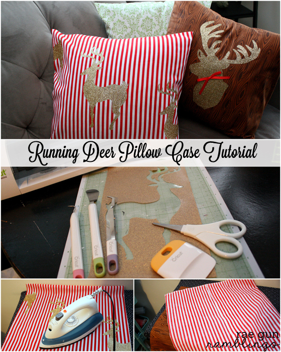 Running Reindeer Christmas Pillow Case tutorial at Rae Gun Ramblings #cricut #vinyl #christmas