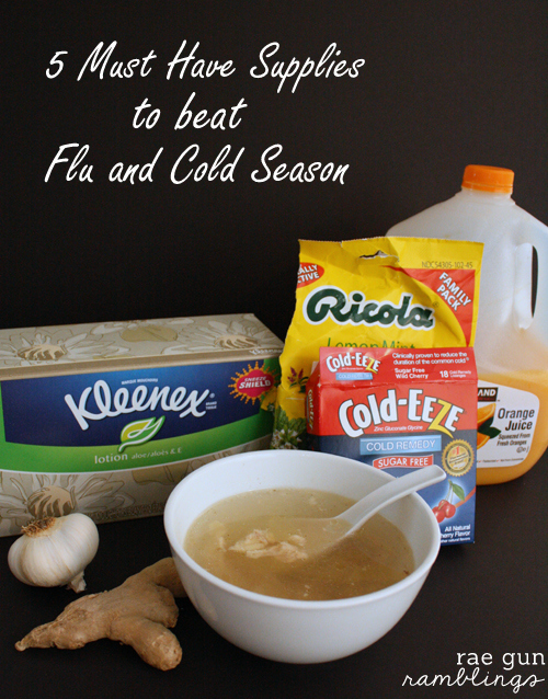 Must have supplies to beat cold and flu season plus a recipe for Crock Pot Chicken Ginger Soup - Rae Gun Ramblings #Kleenextarget #PMedia #ad