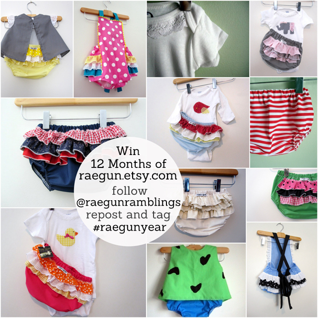 Win a Year's worth of the cutest handmade baby clothes raegun.etsy.com