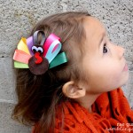 Make your own simple ribbon turkey hair clip tutorial at Rae Gun Ramblings #turkeytablescapes
