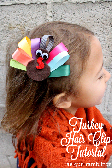 Use scraps to make a super cute Turkey ribbon hair clip. Tutorial at Rae Gun Ramblings #turkeytablescapes