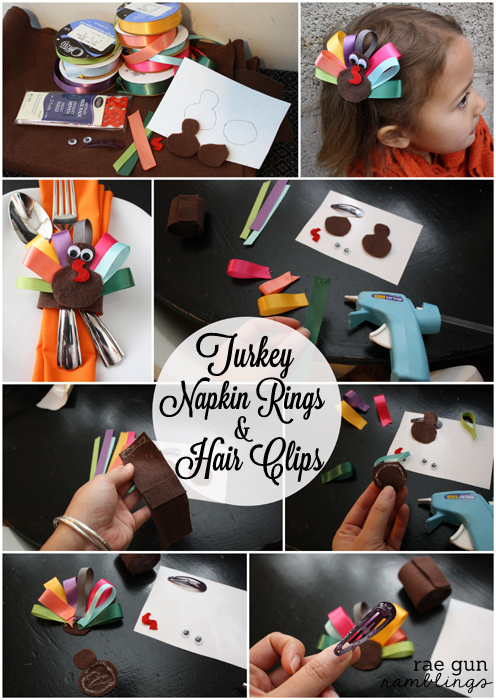 Step by step instructions for how to make festive turkey napkin rings and turkey hair clips at Rae Gun Ramblings #turkeytablescapes