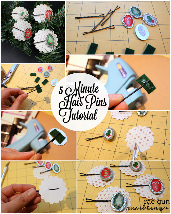 quick and easy tutorial for Christmas hair clips - Rae Gun Ramblings #papercraftedchristmas