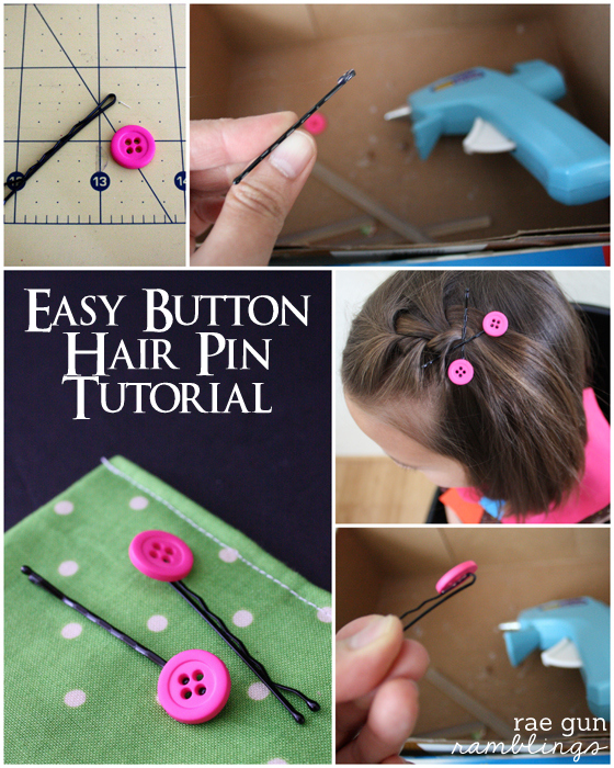 Step by step instructions on how to make simple button hair pins at Rae Gun Ramblings