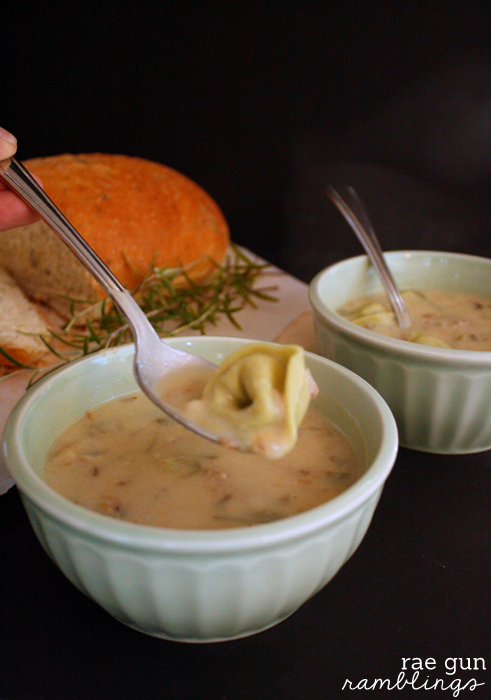 Turkey Tortellini Soup super fast idea to use up Thanksgiving leftovers - Rae Gun Ramblings