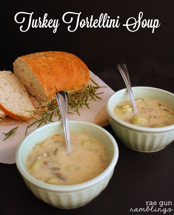 Turkey Tortellini Soup super fast idea to use up Thanksgiving leftovers - Rae Gun Ramblings