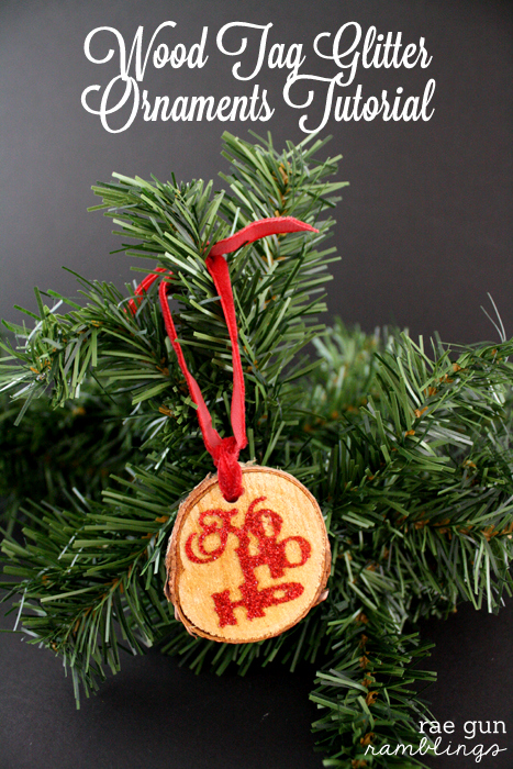 Wood Tag Glitter Ornaments Tutorial - Rae Gun Ramblings #glitteratmichaels