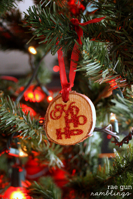 How to make your own rustic wood tag glitter Christmas ornaments - Rae Gun Ramblings