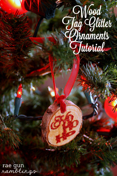 Wood Tag Glitter Ornaments Tutorial - Rae Gun Ramblings