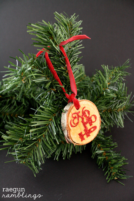 Wood Tag Glitter Ornaments full tutorial at Rae Gun Ramblings