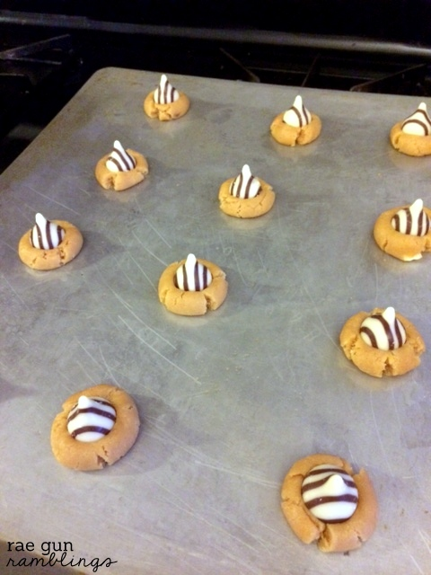 Yummiest easy cookies. Zebra cookies recipe a fun spin on the peanut butter kiss blossom at Rae Gun Ramblings